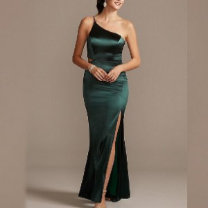 Jump One-Shoulder Spaghetti Strap Cutout Satin Gown  - Best Dress for Reception Party: Alluring maxi dress