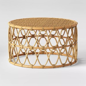 Opalhouse Jewel Round Coffee and Side Table Set - Best Coffee Table for Sectional: Open Rattan Weave Sides Coffee Table