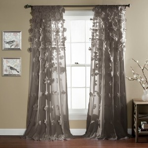 Ophelia & Co. Clarkstown Floral Semi-Sheer  - Best Curtains for Living Room: Floral Cascade Curtain
