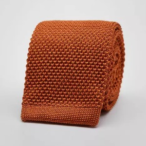John Henric Orange knitted tie in silk - Best Ties for Light Blue Shirts: Best for both summer and winter