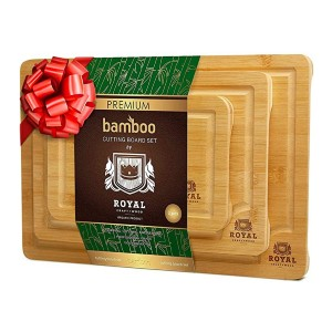 ROYAL CRAFT WOOD Organic Bamboo Cutting Board - Best Cutting Boards for Raw Meat: Easy to clean