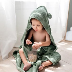 Natemia Organic Cotton Hooded Towel in Sage - Best Bath Towels for Baby: Beautifully Packaged for Easy Gift-Giving