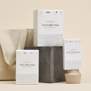Cora  Organic Cotton Topsheet Pads - Best Organic Pads for Periods:  Rapid-absorbing channels