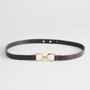 Other Stories Croc Leather Buckle Belt - Best Women's Leather Belts for Jeans: Adjustable Stud Closures at The Back