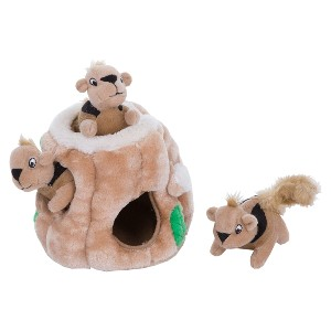 Outward Hound Hide-A-Squirrel Squeaky Puzzle Plush Dog Toy  - Best Dog Brain Toys: Hide-And-Seek Plush Toy