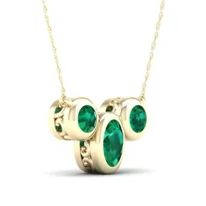 Rogers & Hollands Oval & Round Bezel Emerald Necklace - Best Jewelry for 30th Birthday:  Classic, timeless design