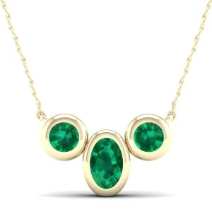 Rogers & Hollands Oval & Round Bezel Emerald Necklace - Best Jewelry for 25th Wedding Anniversary: Classic, timeless design