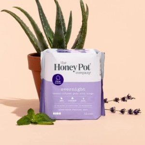 The Honey Pot Overnight Herbal Pads with Wings - Best Organic Overnight Pads: With essential oils