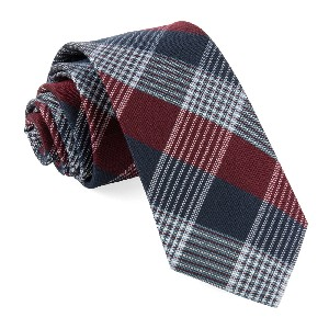 Tie Bar Oxford Plaid Burgundy Tie - Best Ties for Navy Suit: Best with plaid