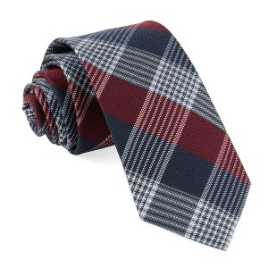 Tie Bar Oxford Plaid Burgundy Tie - Best Ties for Light Blue Shirts: It looks great