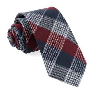 Tie Bar Oxford Plaid Burgundy Tie - Best Ties for Checkered Shirts: Looks great