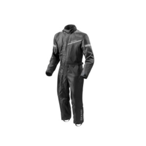 REV'IT! PACIFIC 2 H2O RAIN SUIT - Best Raincoat for Motorcycle Riders: Black waterproof one piece rain suit