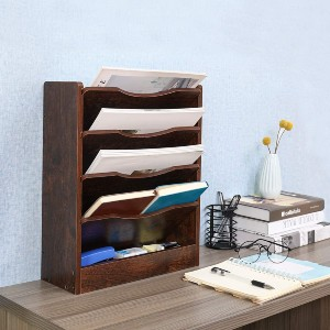 PAG 5-Tier Wall File Holder Hanging Mail Organizer  - Best Magazine Holders: Multifunctional and space-saving