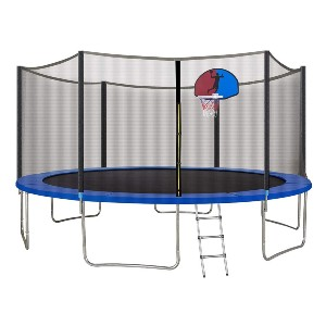 PAPAJET 15 FT Trampoline with Safety Enclosure Net - Best Trampoline with Basketball Hoop: Weather-resistant basketball hoop