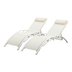 PCAFRS Adjustable Chaise Lounge Chair with Headrest - Best Poolside Chaise Lounge: Durable Outdoor Chaise Lounge
