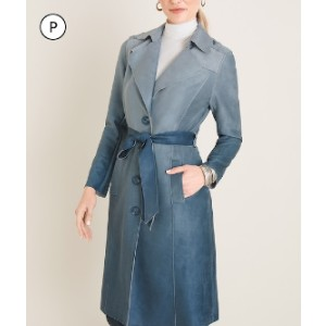 Chicos PETITE OMBRE FAUX-SUEDE TRENCH COAT - Best Trench Coats for Petites: Colored in Blue Ombre