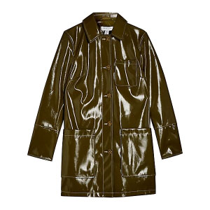 TOPSHOP Vinyl Car Coat - Best Raincoats for Petites: Splendid, Shimmering and Shining Jacket