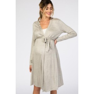 PINKBLUSH Heather Grey Long Sleeve Delivery/Nursing Maternity Robe - Best Robes for New Mom: Simple Robe