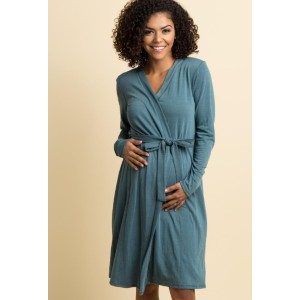 PINKBLUSH Teal Solid Delivery/Nursing Maternity Robe - Best Robes for New Mom: Robe with Premium Materials