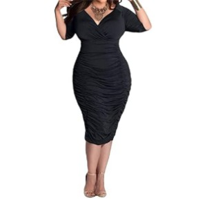 POSESHE  Womens Plus Size Bodycon Dress  - Best Party Dress for Plus Size: Simple but elegant