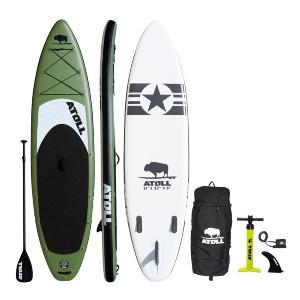 Atoll 2021 Army Green iSUP Package - Best Paddleboard for Yoga: No more losing your balance