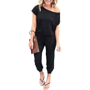 PRETTYGARDEN Women's Loose Solid Off Shoulder Jumpsuit - Best Jumpsuit for Plus Size: Easy to dress up or down