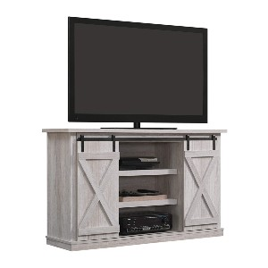 Pamari Sliding Barn Door TV Stand - Best Electric Fireplace TV Stand: Add your own fireplace insert