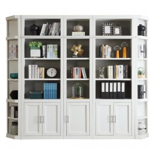 Parker House Catalina 5pc Library Wall in White - Best Bookshelves for Home Library: Silver Finished Handles