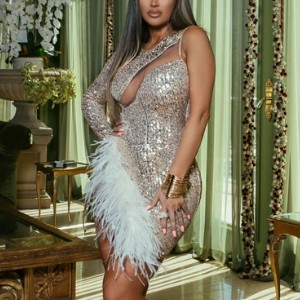 Bella Barnett Paul Feather One-shoulder Dress - Gold  - Best Party Dress for Plus Size: You look second to none