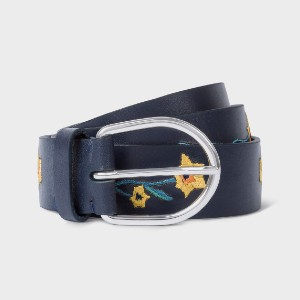 PAUL SMITH Women's 'Alpine Aster' Embroidered Leather Belt - Best Women's Leather Belts for Jeans: Eye-Catching Belt