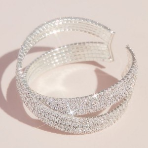 David's Bridal  Pave Rhinestone Crossing Cuff Bracelet  - Best Jewelry for Off the Shoulder Dress: Best for plus size