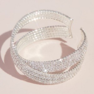 David's Bridal  Pave Rhinestone Crossing Cuff Bracelet  - Best Jewelry for One Shoulder Dress: Best for plus size