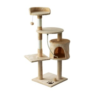 PawHut Plush Sturdy Interactive Cat Condo Tower  - Best Cat Tree for Apartment: Safe Cat Tree