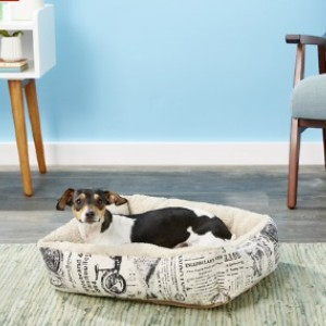 Paws & Pals 1800's Newspaper Bolster Cat & Dog Bed - Best Dog Beds for Small Dogs: Lightweight Bed