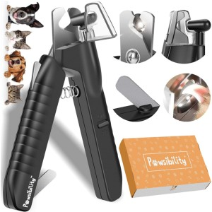 Pawsibility Pet Nail Clipper with Battery - Best Dog Nail Clippers for Black Nails: Clipper with LED Light and Nail Storage Box