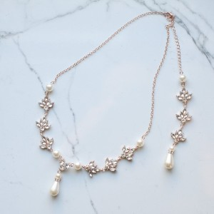 Bright Crystal Wedding Pearl Crystal Backdrop Bridal Necklace - Best Jewelry for Bride: Compliments your off-the-shoulder