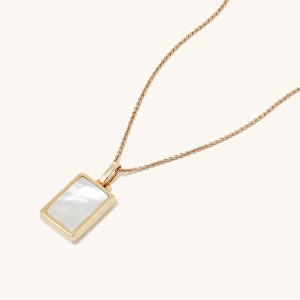 Mejuri Pearl Rectangle Locket Necklace - Best Jewelry for Sensitive Skin: Free engraving!