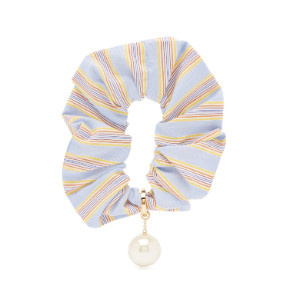 Miu Miu  Pearl-embellished striped scrunchie  - Best Scrunchies for Curly Hair: Gold-Tone Metal Ring and Crystal-Embellished