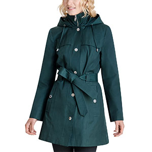 LONDON FOG Hooded Belted Raincoat - Best Raincoats for Petites: Removable Belt and Feminine Touch