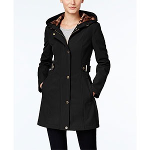 Via Spiga Hooded Raincoat - Best Raincoats for Petites: Classy and Elegant with Printed Lining