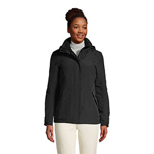 LAND'S END Petite Hooded Squall Winter Jacket - Best Raincoats for Petites: Low-cut Rain Jacket