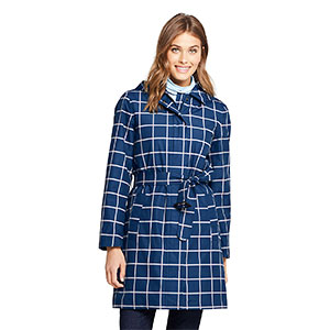 LAND'S END Petite Hooded Waterproof Long Raincoat - Best Raincoats for Petites: Removable Belt Adds Style and Shape