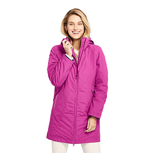 LAND'S END Petite Squall 3 in 1 Waterproof Winter Long Coat with Hood - Best Raincoats for Petites: Two Way Zipper for Venting and Mobility