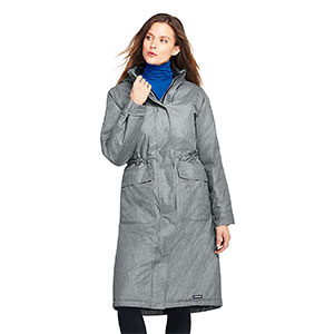 LAND'S END Petite Squall Insulated Long Stadium Coat - Best Raincoats for Petites: Lightweight Insulation In The Entire Body