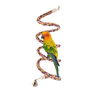 Petsvv Rope Bungee Bird Toy - Best Bird Toys for Conures: Fun spot to perch