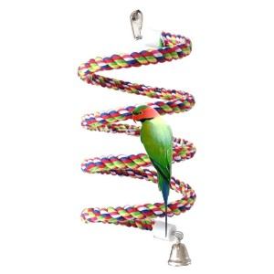 Petsvv Rope Bungee Bird Toy - Best Bird Toys for Cockatiels: Encourages balance skills