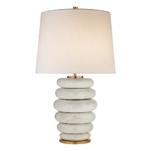 Williams Sonoma Phoebe Stacked Table Lamp, Antiqued White - Best Lamp for Livingroom: Stunning stacked marble rings