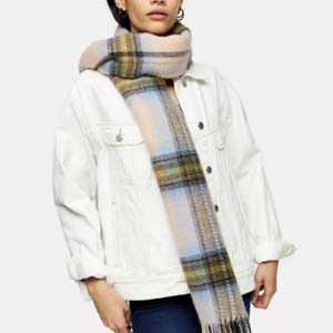 TOPSHOP Pink And Khaki Brushed Scarf - Best Scarves for Winter: Stand out from the crowd