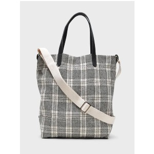 Banana Republic Plaid Small Canvas Tote - Best Tote Bags for Women: Adjustable Shoulder Strap