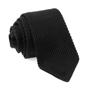 Tie Bar Pointed Tip Knit Black Tie - Best Ties for Blue Suit: Stands out in simplicity
